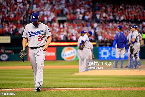 Clayton Kershaw of the Los Angeles Dodgers exits the game in the seventh inning after giving up a three run home run against the St Louis Cardinals...
