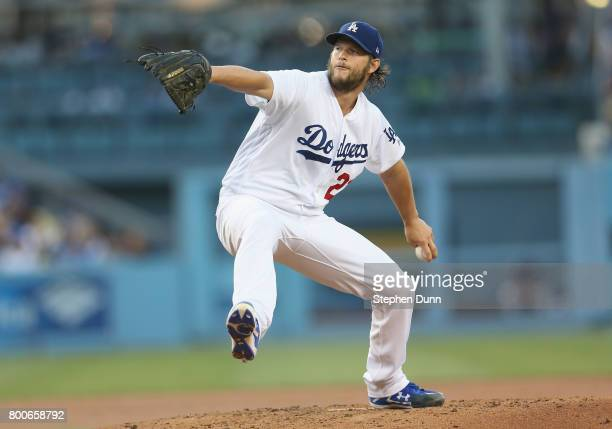 Clayton Kershaw of the Los Angeles Dodgers folows throws a pitch in the second inning against the Colorado Rockies at Dodger Stadium on June 24 2017...