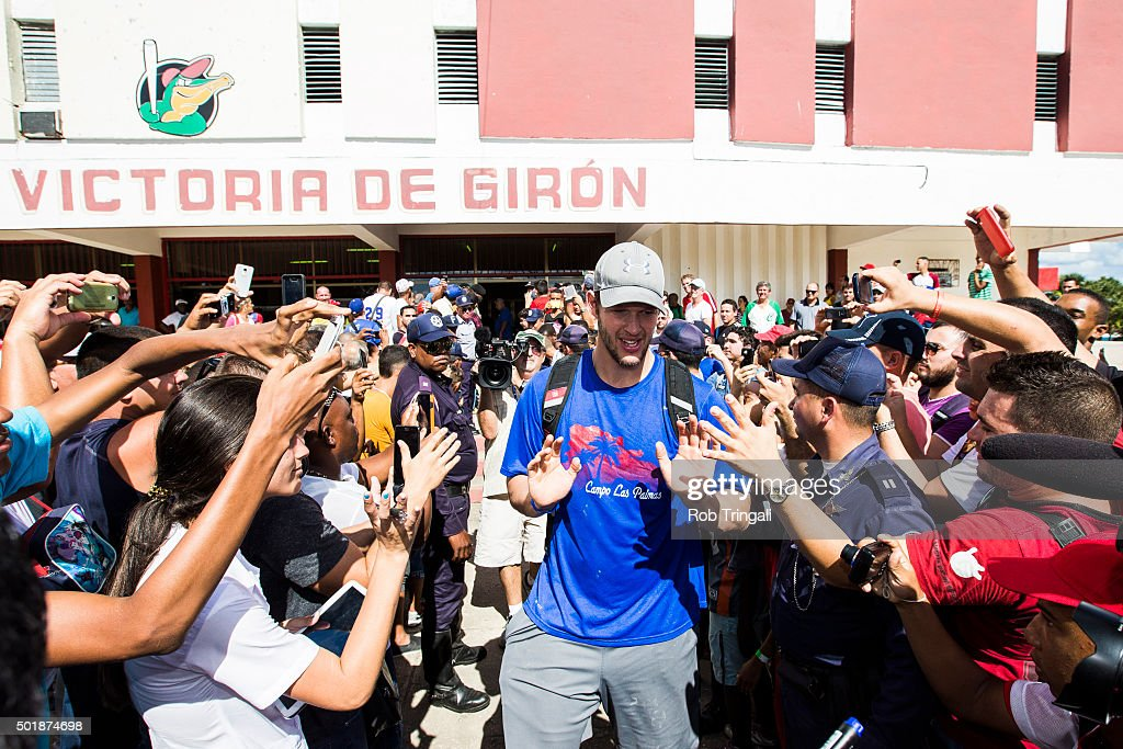 <a gi-track='captionPersonalityLinkClicked' href=/galleries/search?phrase=Clayton+Kershaw&family=editorial&specificpeople=4391635 ng-click='$event.stopPropagation()'>Clayton Kershaw</a> of the Los Angeles Dodgers greets fans following a youth clinic during an MLB goodwill tour on December 17, 2015 at Estadio Victoria de Giron in Matanzas, Cuba.