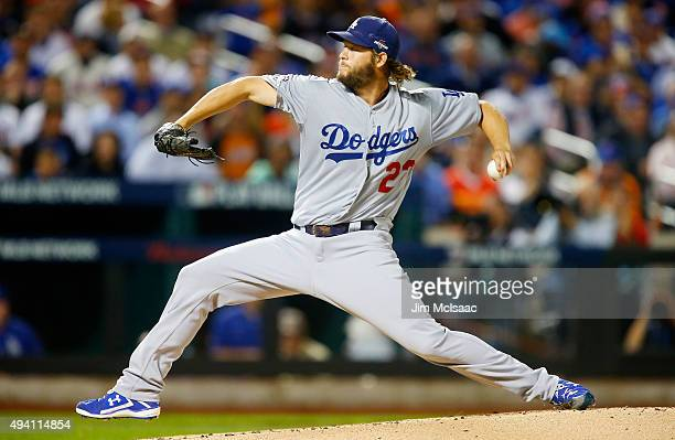 Clayton Kershaw of the Los Angeles Dodgers in action against the New York Mets during game four of the 2015 MLB National League Division Series at...