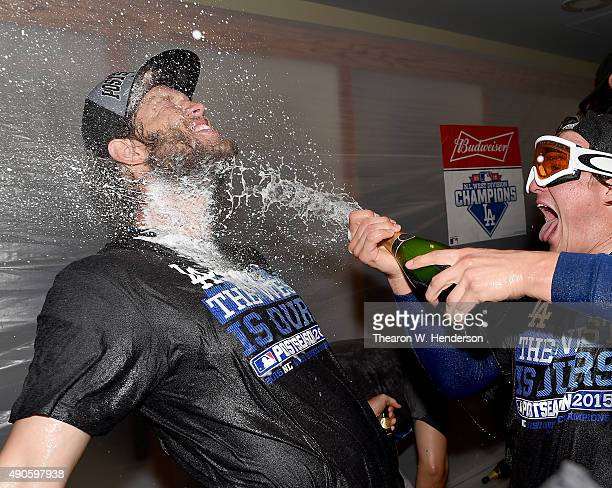 Clayton Kershaw of the Los Angeles Dodgers is sprayed with champagne after the Dodgers defeated the San Francisco Giants 80 to clinch the National...
