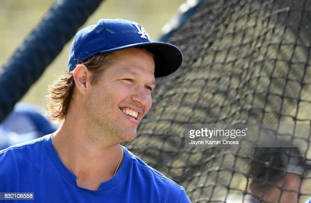 Clayton Kershaw of the Los Angeles Dodgers on the field during batting practice before the game against the Chicago White Sox at Dodger Stadium on...