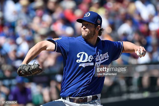 Clayton Kershaw of the Los Angeles Dodgers pitches against the Chicago Cubs at Sloan Park on March 8 2016 in Mesa Arizona