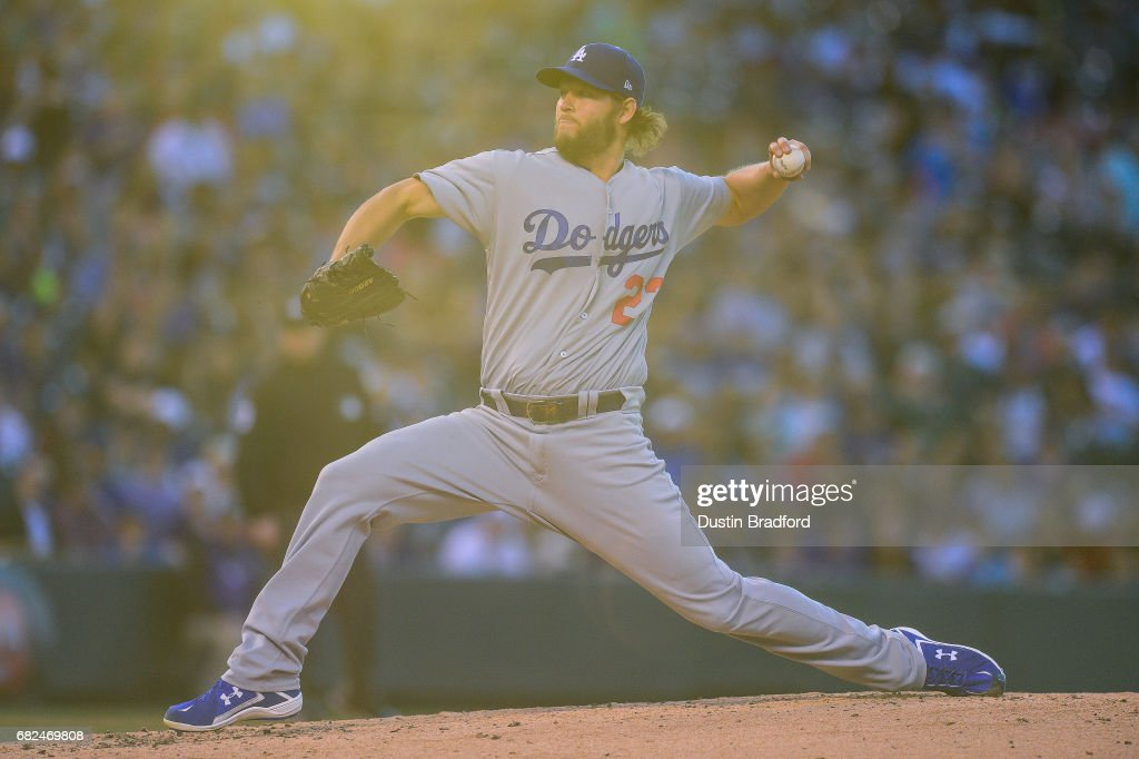 Clayton Kershaw #22 of the Los Angeles Dodgers pitches against the Colorado Rockies in the third inning of a game at Coors Field on May 12, 2017 in Denver, Colorado.
