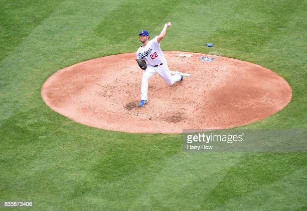 Clayton Kershaw of the Los Angeles Dodgers pitches against the Washington Nationals during the fourth inning at Dodger Stadium on June 7 2017 in Los...