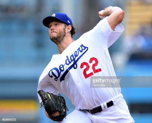 Clayton Kershaw of the Los Angeles Dodgers pitches against the Washington Nationals during the second inning at Dodger Stadium on June 7 2017 in Los...
