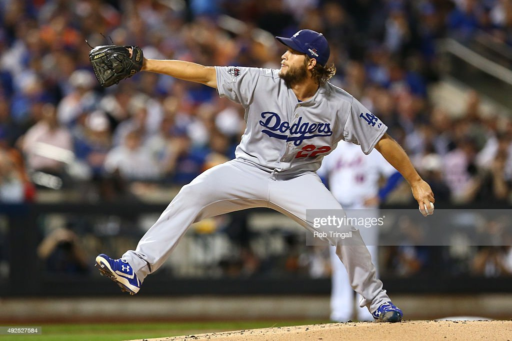 Clayton Kershaw of the Los Angeles Dodgers pitches during Game 4 of the NLDS against the New York Mets at Citi Field on Tuesday October 13 2015 in...
