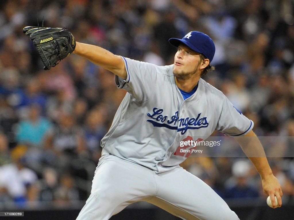<a gi-track='captionPersonalityLinkClicked' href=/galleries/search?phrase=Clayton+Kershaw&family=editorial&specificpeople=4391635 ng-click='$event.stopPropagation()'>Clayton Kershaw</a> #22 of the Los Angeles Dodgers pitches during the fourth inning of a baseball game against the San Diego Padres at Petco Park on June 21, 2013 in San Diego, California.