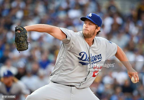 Clayton Kershaw of the Los Angeles Dodgers pitches during the second inning of a baseball game against the San Diego Padres on opening day at PETCO...