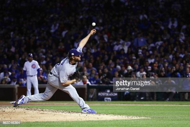 Clayton Kershaw of the Los Angeles Dodgers pitches in the fifth inning against the Chicago Cubs during game five of the National League Championship...