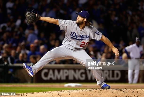 Clayton Kershaw of the Los Angeles Dodgers pitches in the first inning against the Chicago Cubs during game five of the National League Championship...