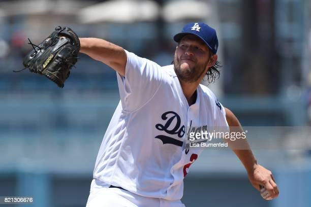 Clayton Kershaw of the Los Angeles Dodgers pitches in the second inning against the Atlanta Braves at Dodger Stadium on July 23 2017 in Los Angeles...