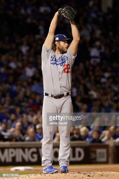 Clayton Kershaw of the Los Angeles Dodgers pitches in the second inning against the Chicago Cubs during game five of the National League Championship...