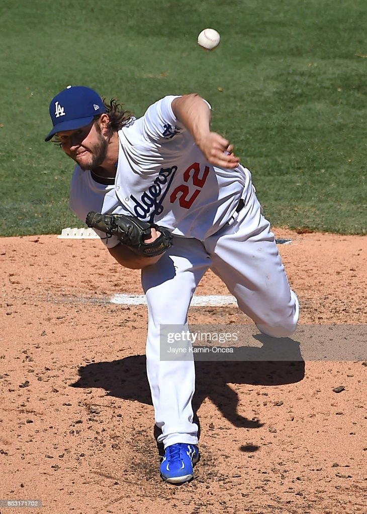 Clayton Kershaw #22 of the Los Angeles Dodgers pitches in the third inning of the game against the San Francisco Giants at Dodger Stadium on September 24, 2017 in Los Angeles, California.
