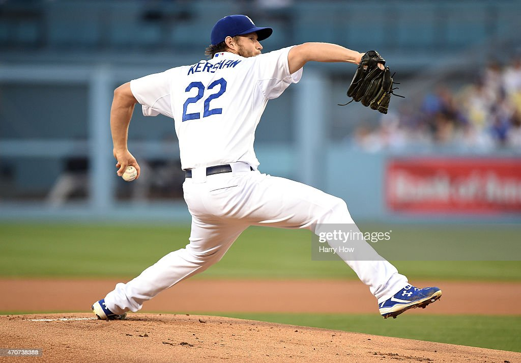 Clayton Kershaw #22 of the Los Angeles Dodgers pitches to the Colorado Rockies during the first inning at Dodger Stadium on April 17, 2015 in Los Angeles, California.