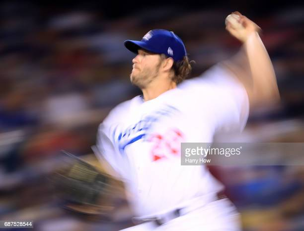 Clayton Kershaw of the Los Angeles Dodgers pitches to the St Louis Cardinals during the seventh inning at Dodger Stadium on May 23 2017 in Los...