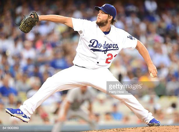 Clayton Kershaw of the Los Angeles Dodgers pitches to the Washington Nationals during the third inning at Dodger Stadium on June 20 2016 in Los...