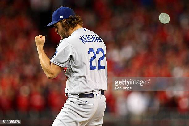 Clayton Kershaw of the Los Angeles Dodgers reacts to the final out during Game 5 of NLDS defeating the Washington Nationals 43 at Nationals Park on...
