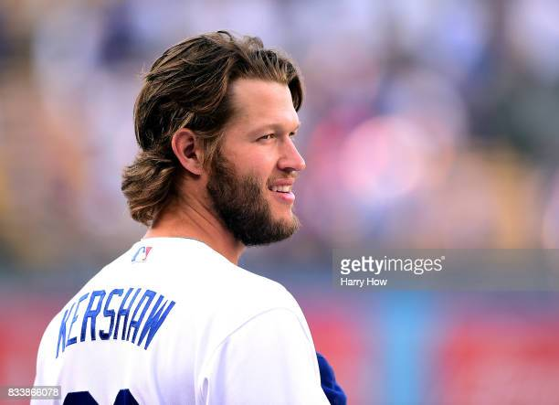 Clayton Kershaw of the Los Angeles Dodgers smiles before the game against the Arizona Diamondbacks at Dodger Stadium on July 6 2017 in Los Angeles...