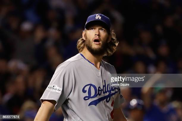 Clayton Kershaw of the Los Angeles Dodgers stands on the field during game five of the National League Championship Series against the Chicago Cubs...