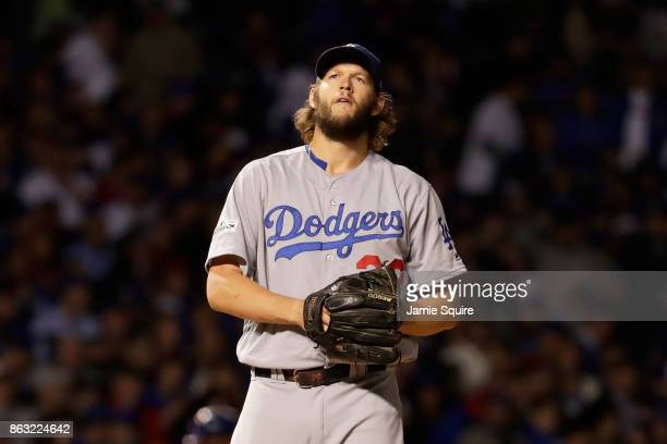 Clayton Kershaw of the Los Angeles Dodgers stands on the mound in the first inning against the Chicago Cubs during game five of the National League...