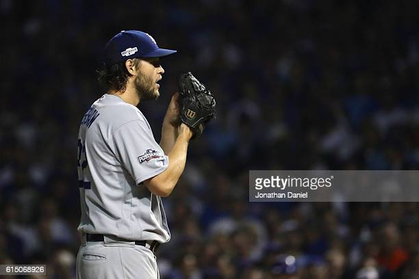 Clayton Kershaw of the Los Angeles Dodgers stands on the pitcher's mound in the sixth inning against the Chicago Cubs during game two of the National...