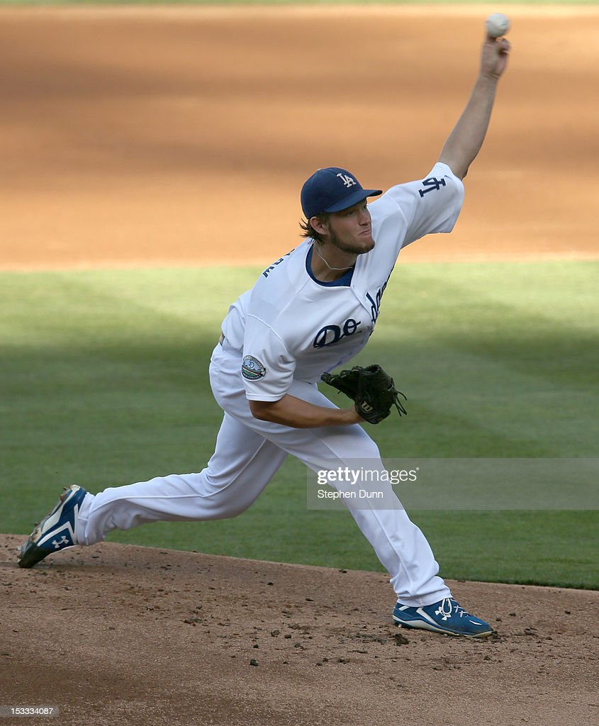 <a gi-track='captionPersonalityLinkClicked' href=/galleries/search?phrase=Clayton+Kershaw&family=editorial&specificpeople=4391635 ng-click='$event.stopPropagation()'>Clayton Kershaw</a> #22 of the Los Angeles Dodgers throws a pitch against the San Francisco Giants on October 3, 2012 at Dodger Stadium in Los Angeles, California.