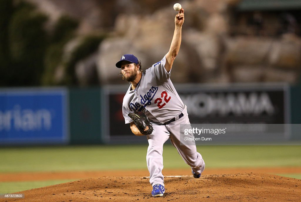 Clayton Kershaw of the Los Angeles Dodgers throws a pitch against the Los Angeles Angels of Anaheim at Angel Stadium of Anaheim on September 8 2015...