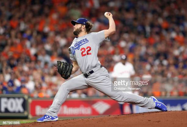 Clayton Kershaw of the Los Angeles Dodgers throws a pitch during the first inning against the Houston Astros in game five of the 2017 World Series at...