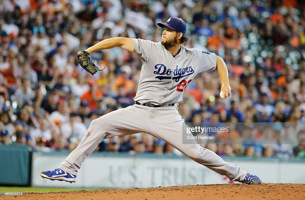 Clayton Kershaw of the Los Angeles Dodgers throws a pitch in the seventh inning during their game against the Houston Astros at Minute Maid Park on...