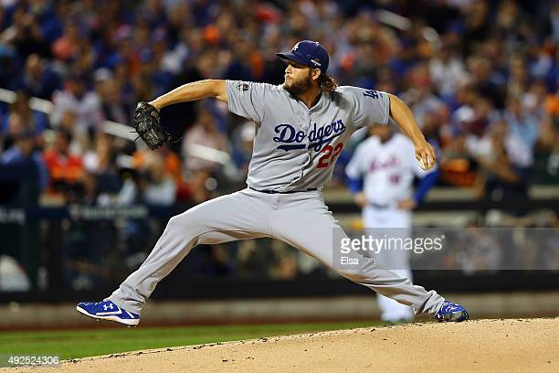 Clayton Kershaw of the Los Angeles Dodgers throws a pitch in the first inning against the New York Mets during game four of the National League...