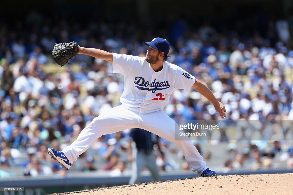 Clayton Kershaw #22 of the Los Angeles Dodgers throws a pitch in the second inning against the San Diego Padres at Dodger Stadium on May 1, 2016 in Los Angeles, California.