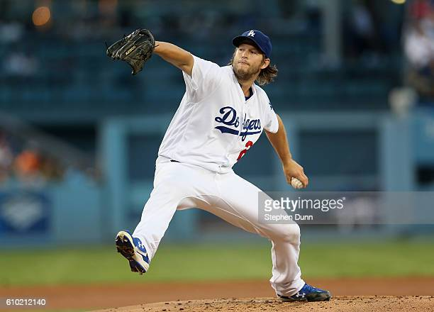 Clayton Kershaw of the Los Angeles Dodgers throws a pitch in the first inning against the Colorado Rockies at Dodger Stadium on September 24 2016 in...