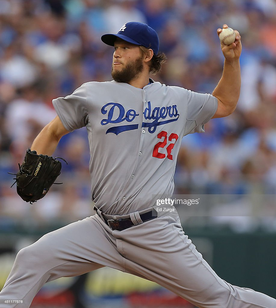 Clayton Kershaw #22 of the Los Angeles Dodgers throws against the Kansas City Royals in the first inning at Kauffman Stadium on June 24, 2014 in Kansas City, Missouri.