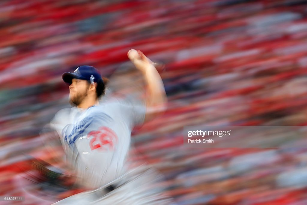 Clayton Kershaw #22 of the Los Angeles Dodgers works against the Washington Nationals during the seconds inning in game one of the National League Division Series at Nationals Park on October 7, 2016 in Washington, DC.