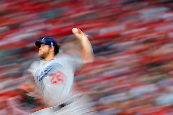 Clayton Kershaw of the Los Angeles Dodgers works against the Washington Nationals during the seconds inning in game one of the National League...