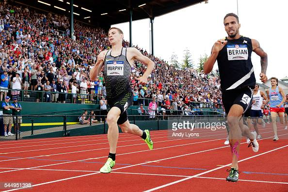 Clayton Murphy first place and Boris Berian second place run in the Men's 800 Meter Final during the 2016 US Olympic Track Field Team Trials at...