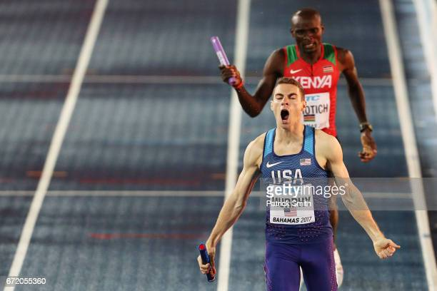 Clayton Murphy of the USA finishes ahead of Ferguson Cheruiyot Rotich of Kenya in the Men's 4x800 Metres Relay Final during the IAAF/BTC World Relays...