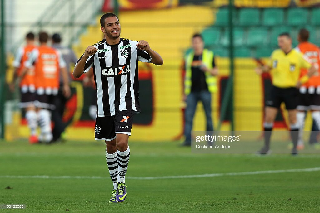 Clayton #13 of Figueirense celebrate his goal, second of Figueirense in match, during a match between Figueirense and Sport as part of Campeonato Brasileiro 2014 at Orlando Scarpelli Stadium on August 3, 2014 in Florianopolis, Brazil