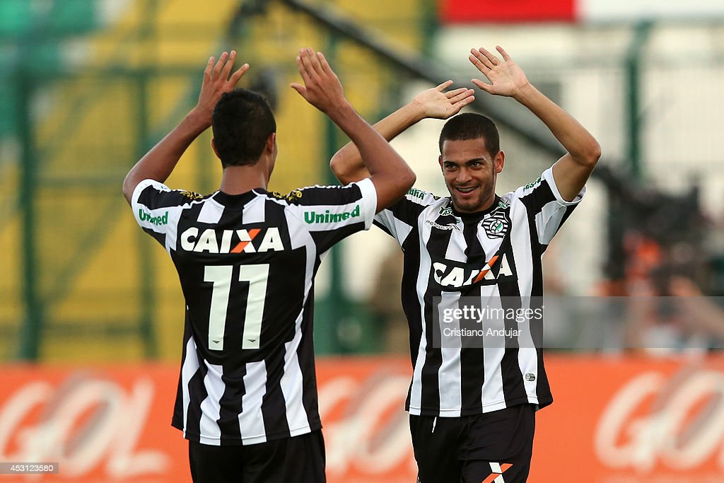 Clayton #13 of Figueirense celebrate his goal with Ricardo Bueno, second of Figueirense in match, during a match between Figueirense and Sport as part of Campeonato Brasileiro 2014 at Orlando Scarpelli Stadium on August 3, 2014 in Florianopolis, Brazil