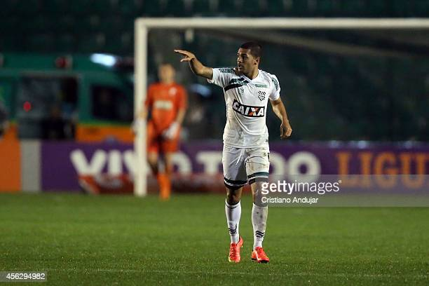 Clayton of Figueirense celebrate his second goal second goal of Figueirense during a match between Figueirense and Palmeiras as part of Campeonato...