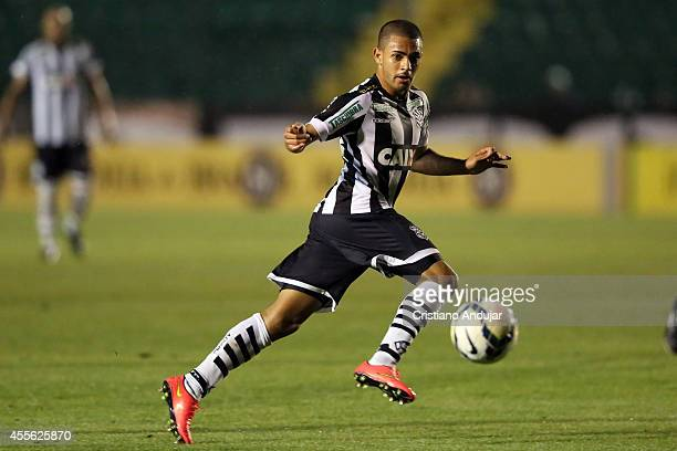 Clayton of Figueirense in action during a match between Figueirense and Criciuma as part of Campeonato Brasileiro 2014 at Orlando Scarpelli Stadium...