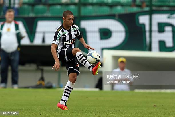 Clayton of Figueirense in action during a match between Figueirense and Coritiba as part of Campeonato Brasileiro 2014 at Orlando Scarpelli Stadium...