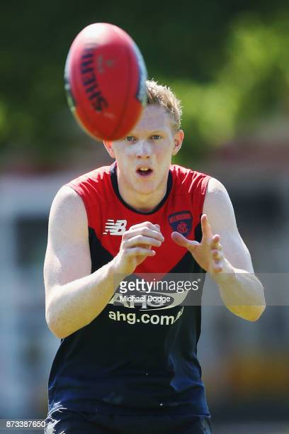 Clayton Oliver of the Demons marks the ball during a Melbourne Demons AFL training session at Gosch's Paddock on November 13 2017 in Melbourne...