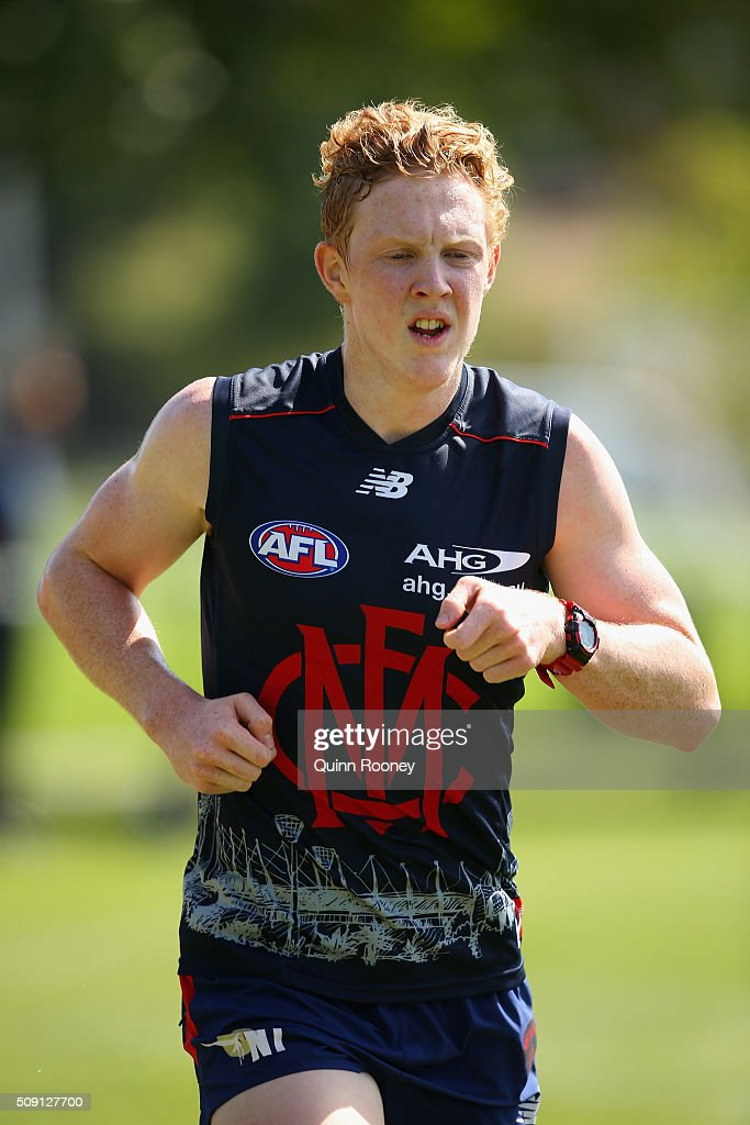 Clayton Oliver of the Demons runs laps during a Melbourne Demons AFL pre-season training session at Gosch's Paddock on February 9, 2016 in Melbourne, Australia.