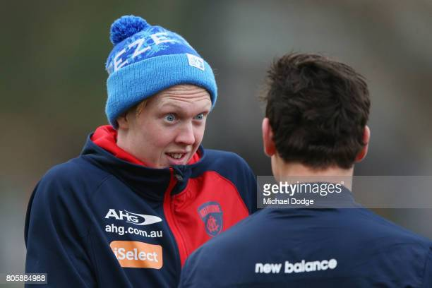 Clayton Oliver reacts during a Melbourne Demons AFL training session at Gosch's Paddock on July 3 2017 in Melbourne Australia