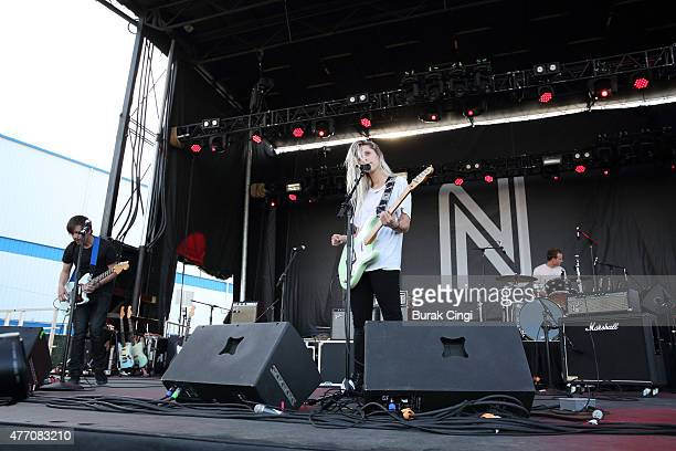 Clayton Parker Alicia Bognanno and Stewart Copelandof Bully performs on day 3 of Northside Festival on June 13 2015 in Brooklyn United States