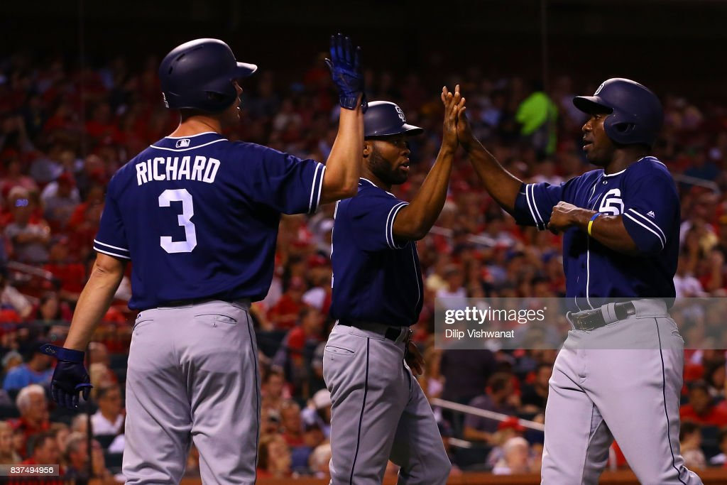 Clayton Richard #3, Manuel Margot #7 and Jose Pirela #2 celebrate after scoring three runs against the St. Louis Cardinals in the third inning at Busch Stadium on August 22, 2017 in St. Louis, Missouri.