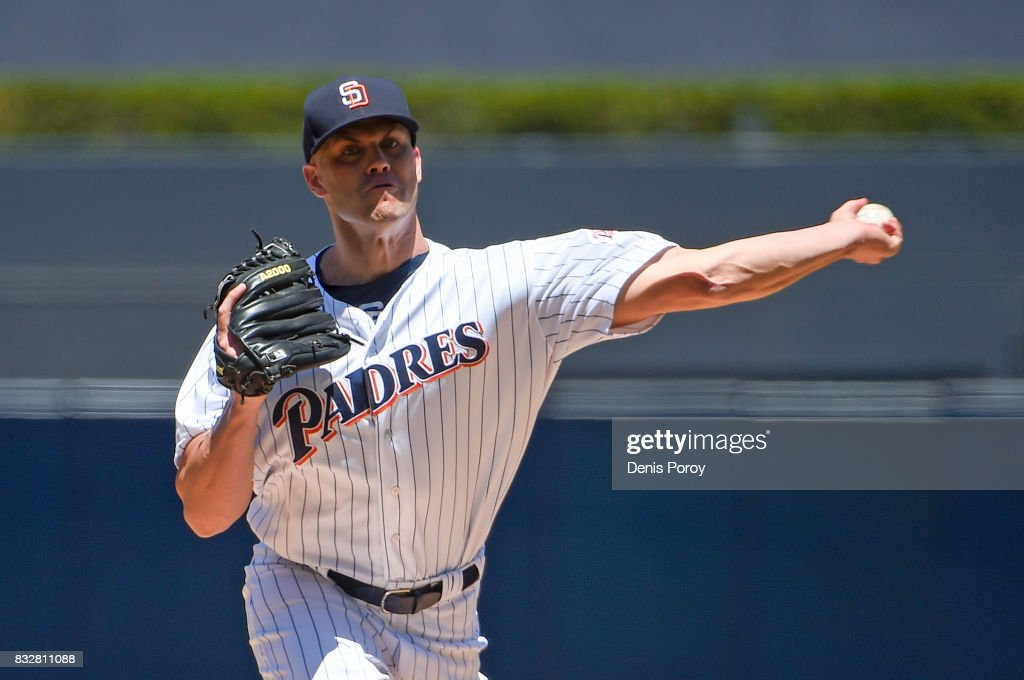 Clayton Richard #3 of the San Diego Padres pitches during the first inning of a baseball game against the Philadelphia Phillies at PETCO Park on August 16, 2017 in San Diego, California.