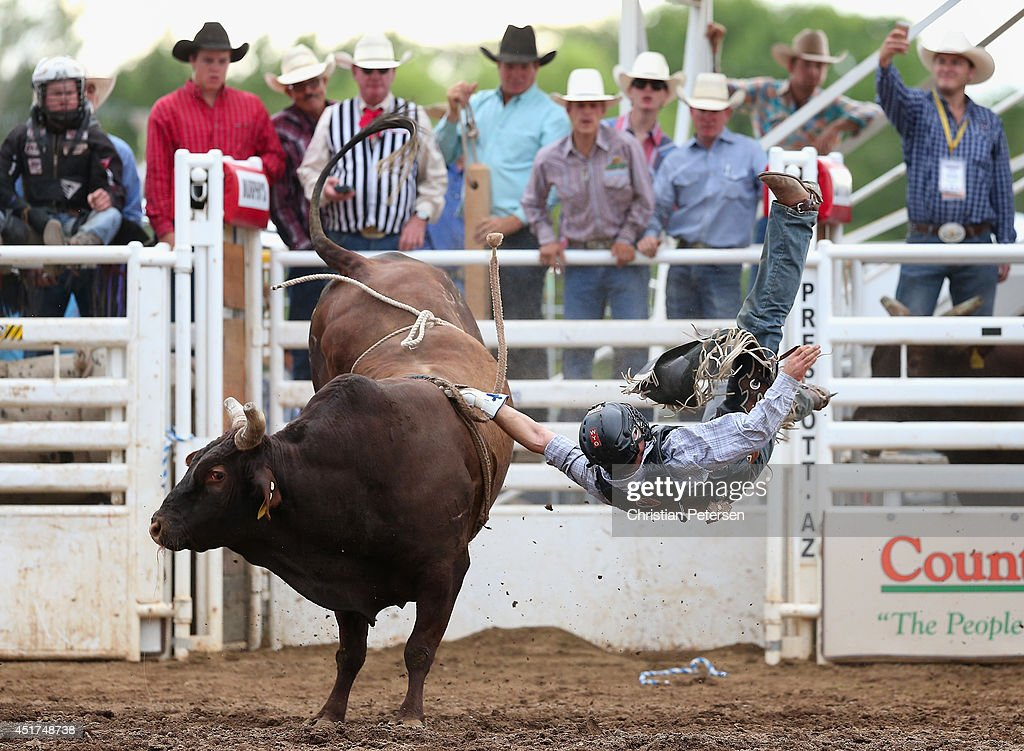 Clayton Savage is thrown from the bull as he competes in the Bull Riding at the Prescott Frontier Days 'World's Oldest Rodeo' on July 5, 2014 in Prescott, Arizona.